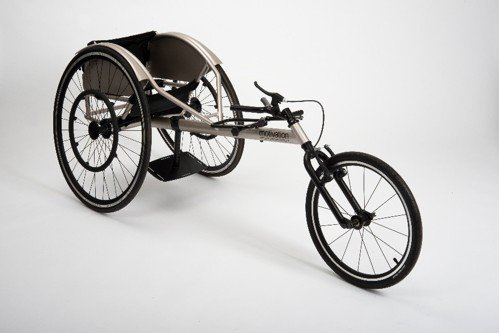 Silver three-wheeled racing wheelchair on a white background
